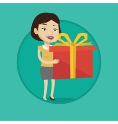 Joyful caucasian woman holding box with gift vector image vector image
