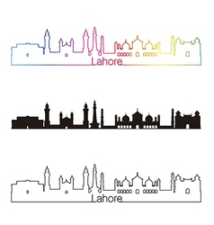 Lahore skyline linear style with rainbow vector image