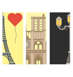 paris icons famous love travel cuisine vector image
