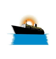 Passenger Ship Cargo Boat Retro vector image vector image