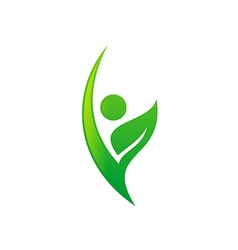 people vegetarian green leaf eco logo vector image