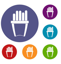 Portion of french fries icons set vector