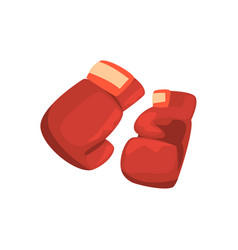 Red boxing gloves sports equipment colorful vector