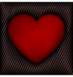 Red Heart on Dark Background of Intertwined Line vector image vector image