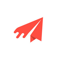 Red paper airplane icon vector