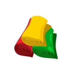 Rolls of colorful fabric cartoon icon vector