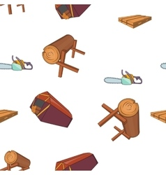 Sawmil and timber pattern cartoon style vector image