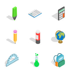 School equipment icons isometric 3d style vector