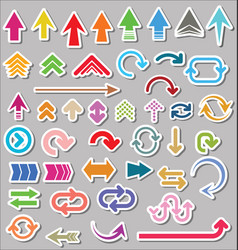Set of arrow shapes isolated on gray background vector