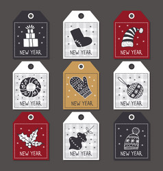 Set of labels for christmas new year vector
