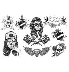 set of vintage tattoos compositions vector image vector image