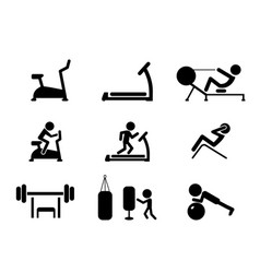 set of workout and gym machines icons vector image vector image