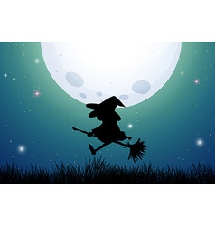 Silhouette witch on broom vector image vector image