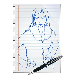 Sketch of a woman vector image