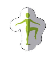Sticker green silhouette woman standing bending vector