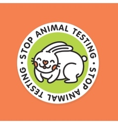 Stop animal testing rabbit badge vector