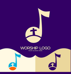 The cross of jesus in a musical note vector
