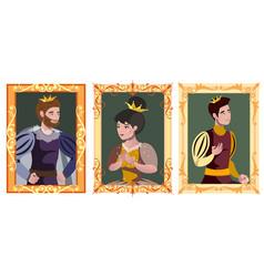 three portrait in golden frame vector image