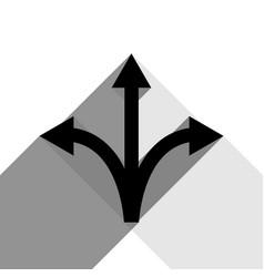 three-way direction arrow sign black icon vector image vector image