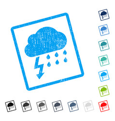 Thunderstorm icon rubber watermark vector