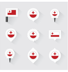Tonga flag and pins for infographic and map design vector