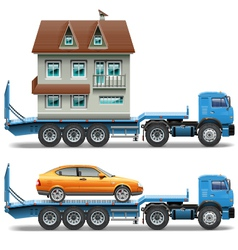 Trailer with house and car vector