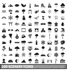 100 scenery icons set simple style vector image vector image