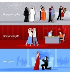 Couples People Flat Banners vector image