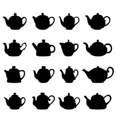 Set of teapot silhouettes vector