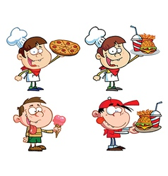 Kids with fast food- collection vector