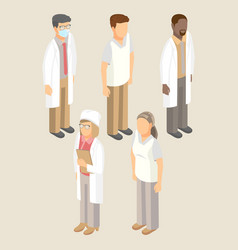Medical workers set of men and women vector