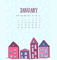 January calendar template winter street with cute vector