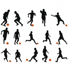 football soccer silhouette set vector image