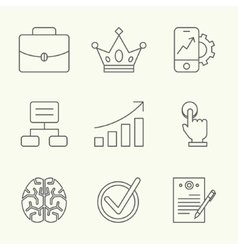 Modern line icons of developing startup strategy vector