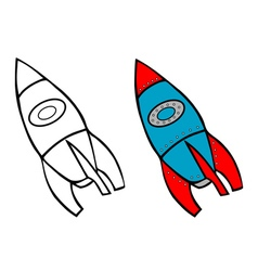 Rocket coloring book vector