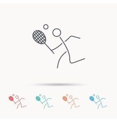 Tennis icon racket with ball sign vector