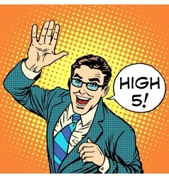 High five joyful businessman vector