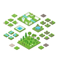 Landscaping isometric 3d garden design elements vector
