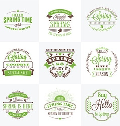 Set of spring vintage typographic badges hello vector
