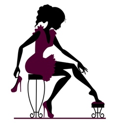 Silhouette girl with shoes vector