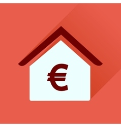 Flat icon with long shadow bank building vector