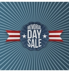 Memorial day sale greeting emblem with ribbon vector