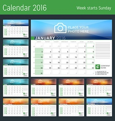 Calendar for 2016 year design calendar planner vector