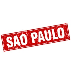 Sao Paulo red square grunge vintage isolated stamp vector image
