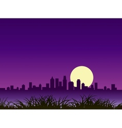 Night city silhouette with moon vector