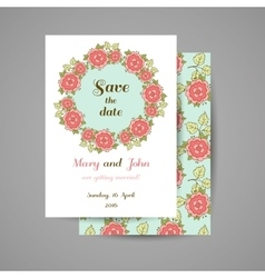 Blue wedding invitation with roses vector