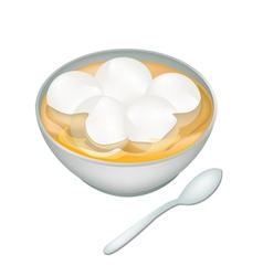 A bowl of sweet dumplings in ginger tea vector