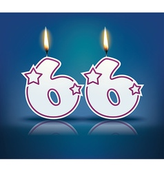 Birthday candle number 66 vector image vector image