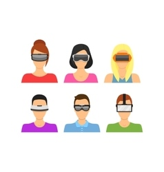 Cartoon Virtual Reality Glasses Avatars Set vector image
