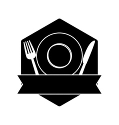 Contour table with plate fork and knife vector